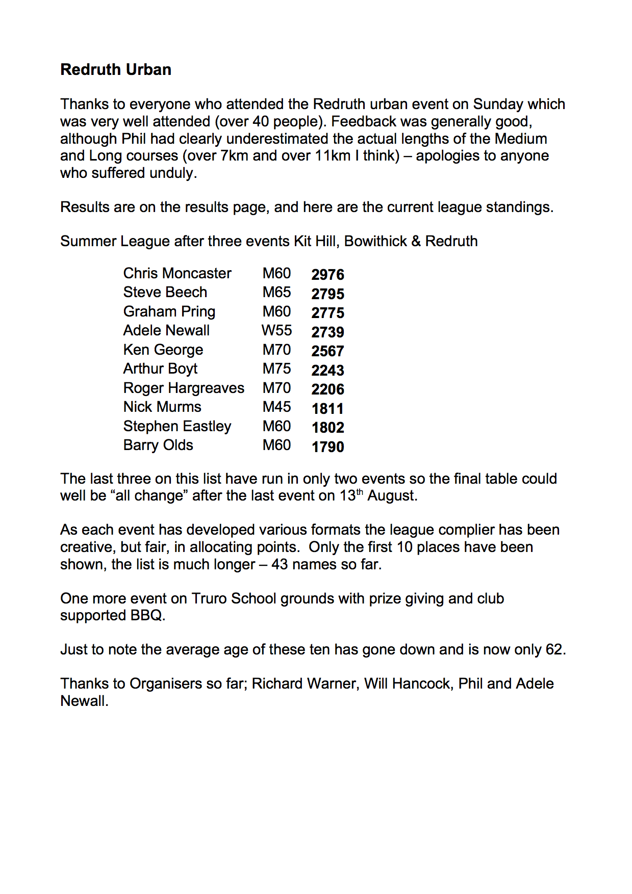 Summer League and Redruth results