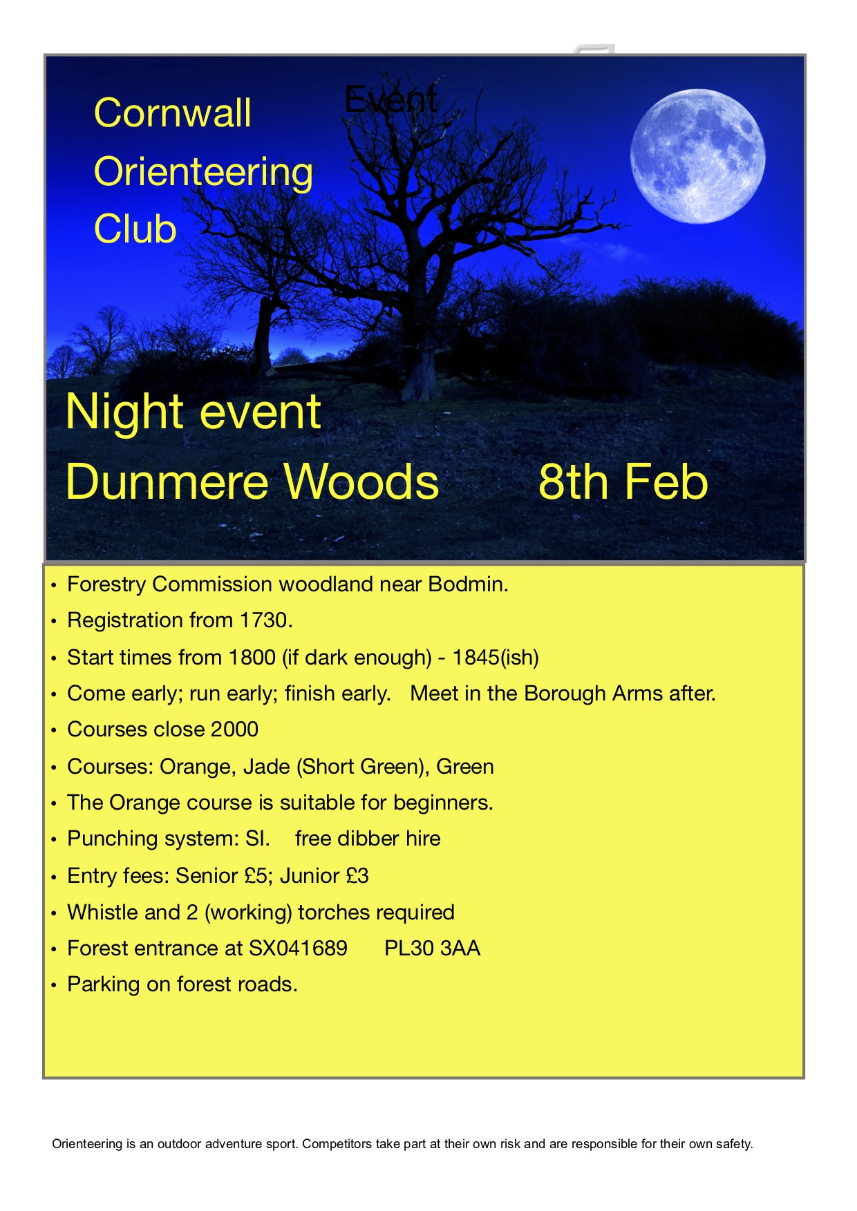 flyer for dunmore night event 2019